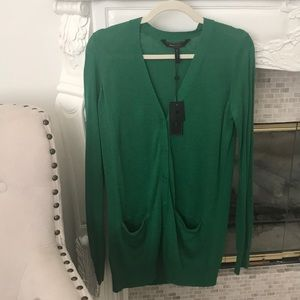 BCBG max Azria size Small, green long cardigan